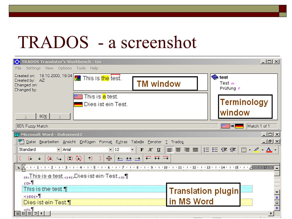 TRADOS - a screenshot