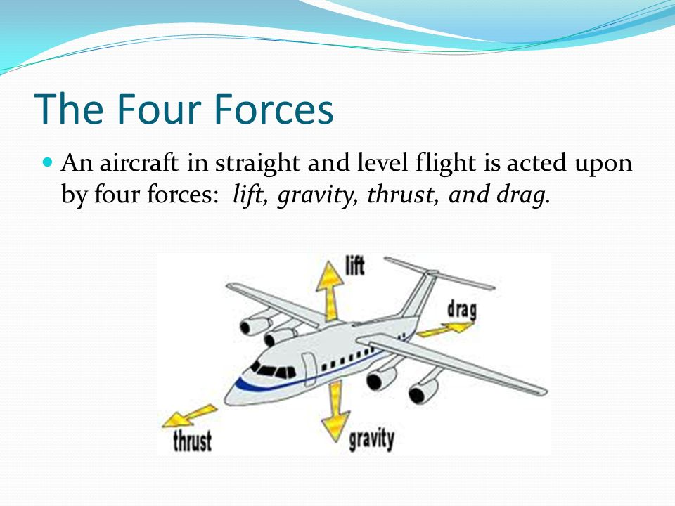 The Four Forces An aircraft in straight and level flight is acted upon by four forces: lift, gravity, thrust, and drag.