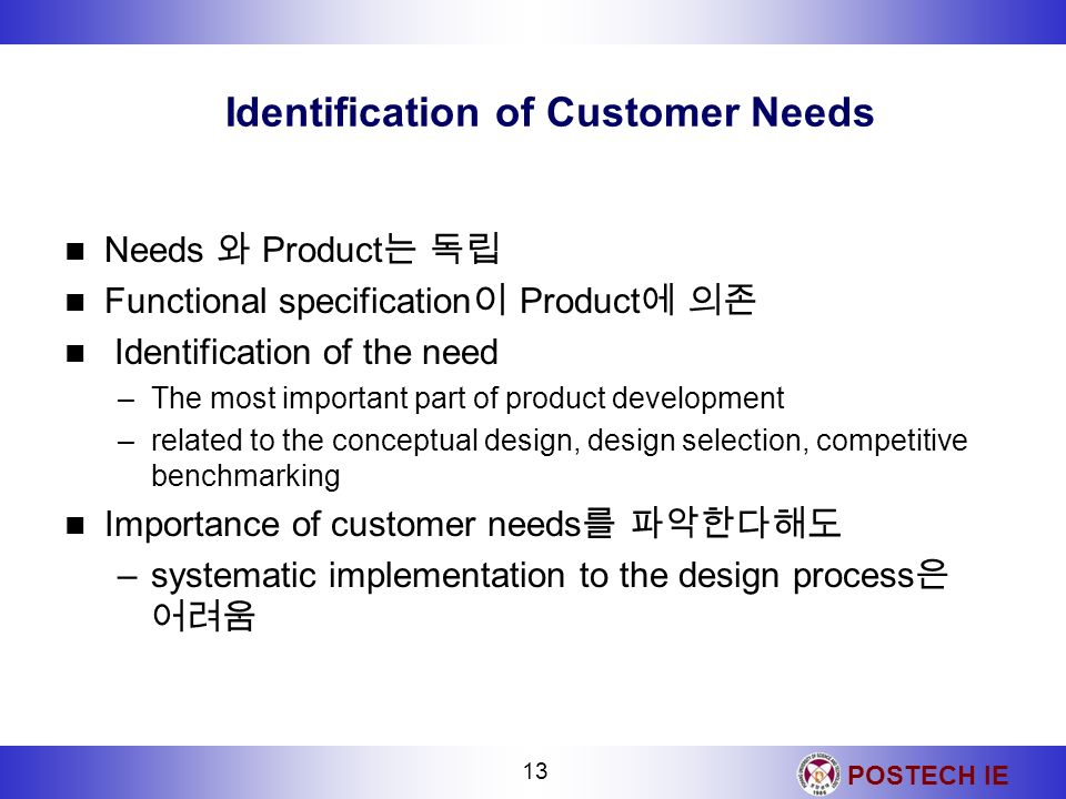 Identification of Customer Needs