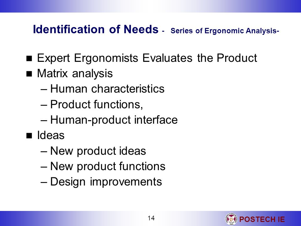 Identification of Needs - Series of Ergonomic Analysis-
