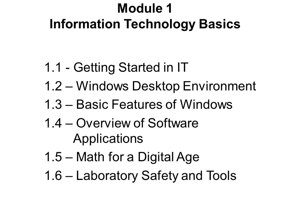 Module 1 Information Technology Basics