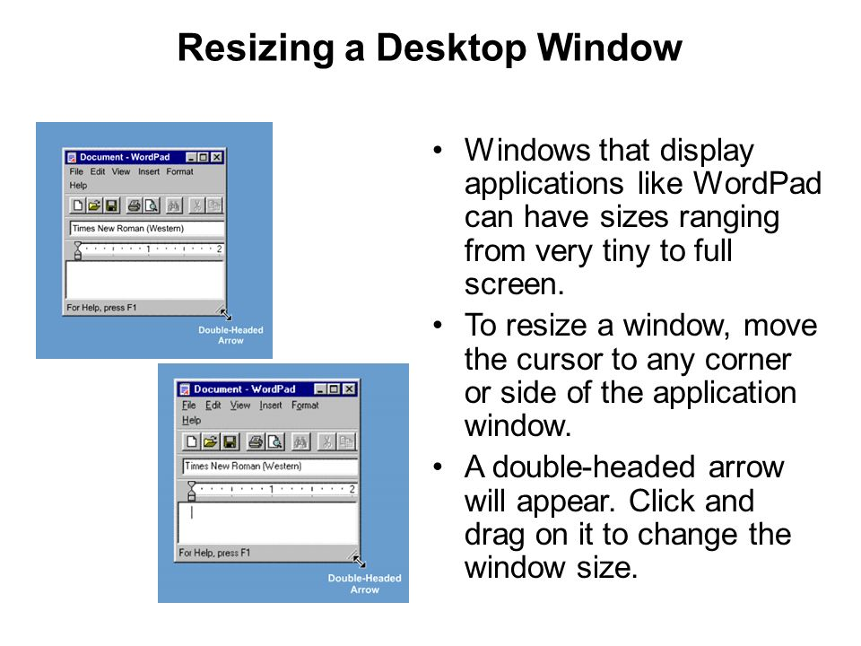 Resizing a Desktop Window