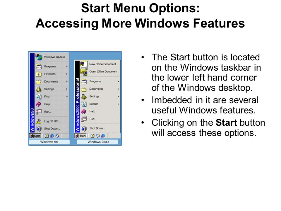 Start Menu Options: Accessing More Windows Features