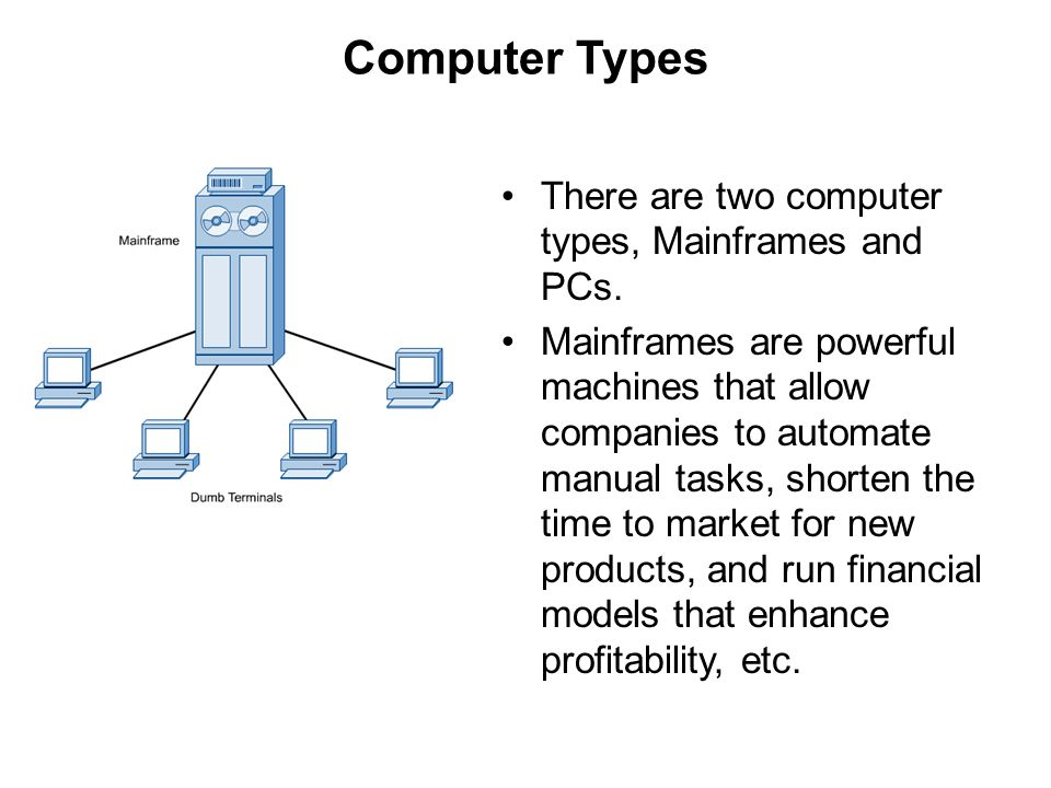 Computer Types There are two computer types, Mainframes and PCs.