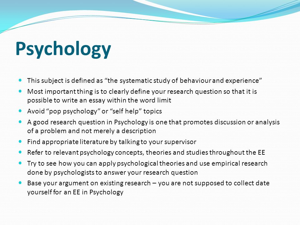 Psychology This subject is defined as the systematic study of behaviour and experience