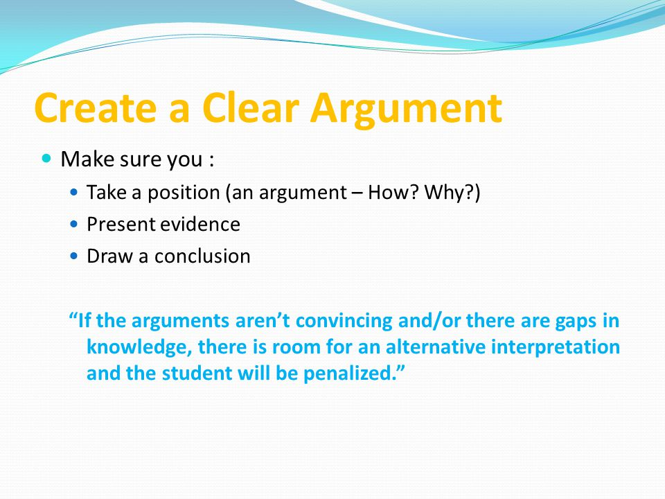Create a Clear Argument
