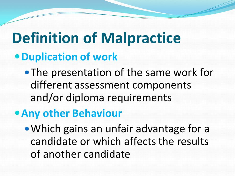 Definition of Malpractice