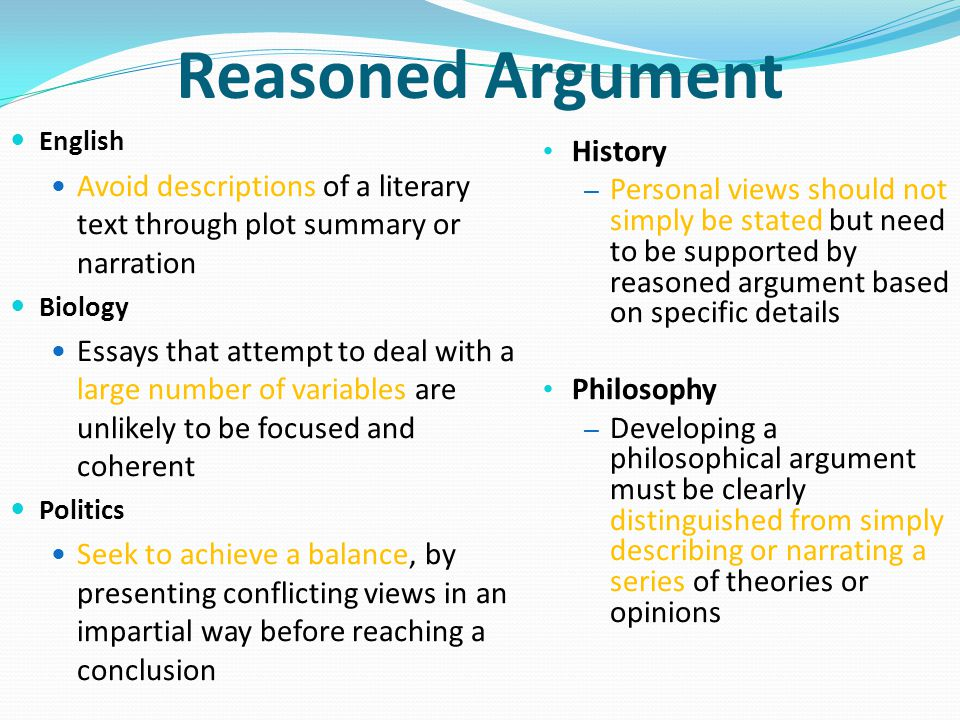 Reasoned Argument History
