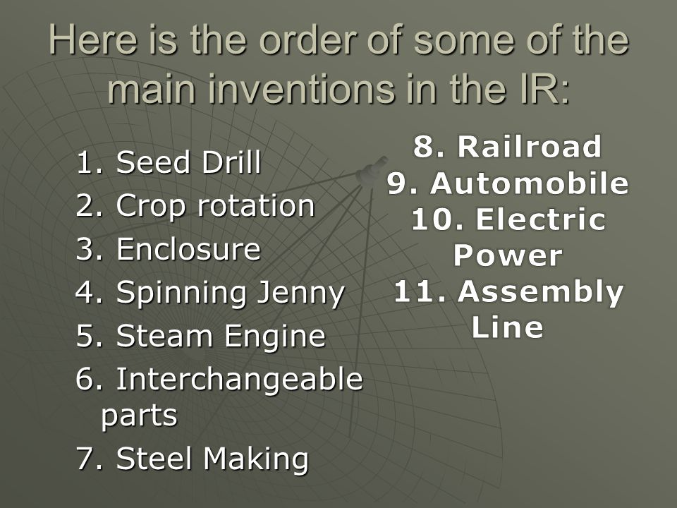 Here is the order of some of the main inventions in the IR: