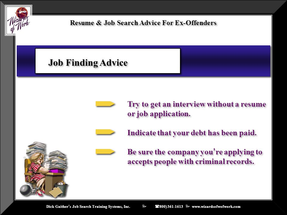 Resume Job Search Advise For Ex Offenders Ppt Video Online Download