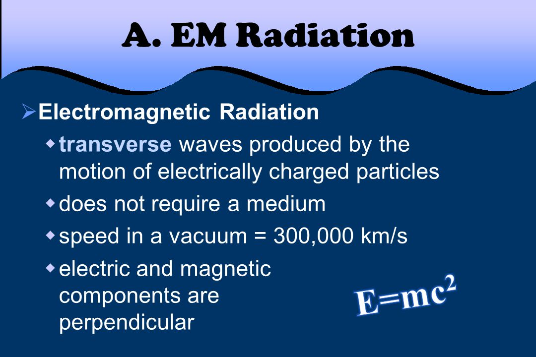 A. EM Radiation E=mc2 Electromagnetic Radiation