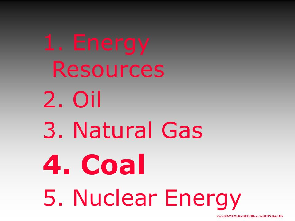 4. Coal 1. Energy Resources 2. Oil 3. Natural Gas 5. Nuclear Energy