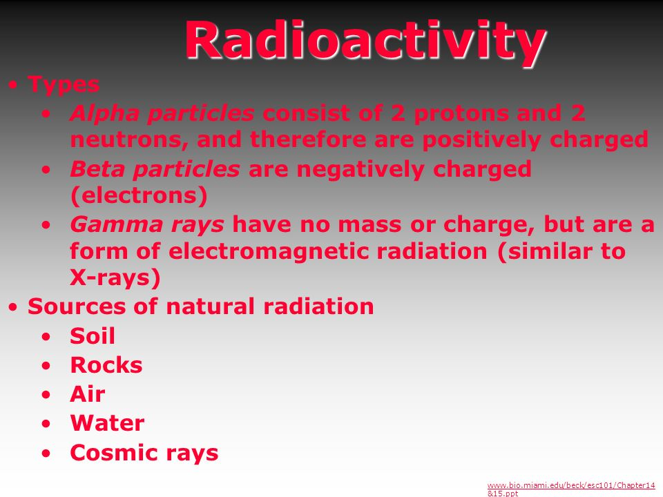 Radioactivity Types. Alpha particles consist of 2 protons and 2 neutrons, and therefore are positively charged.