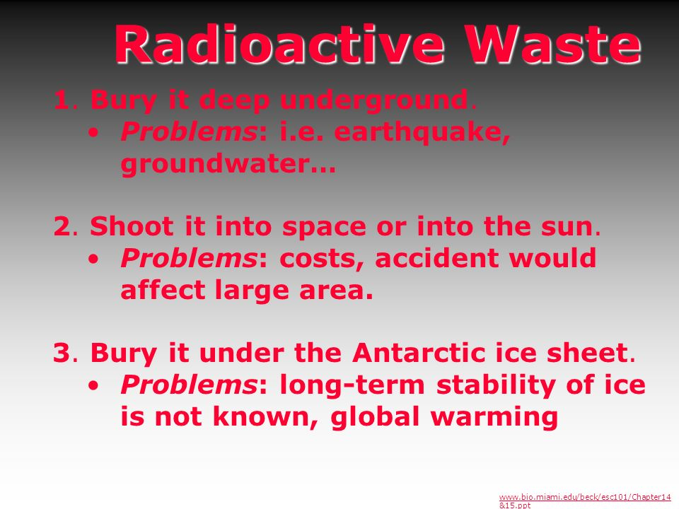 Radioactive Waste 1. Bury it deep underground.