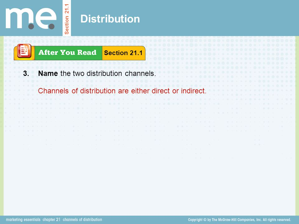Distribution 3. Name the two distribution channels.