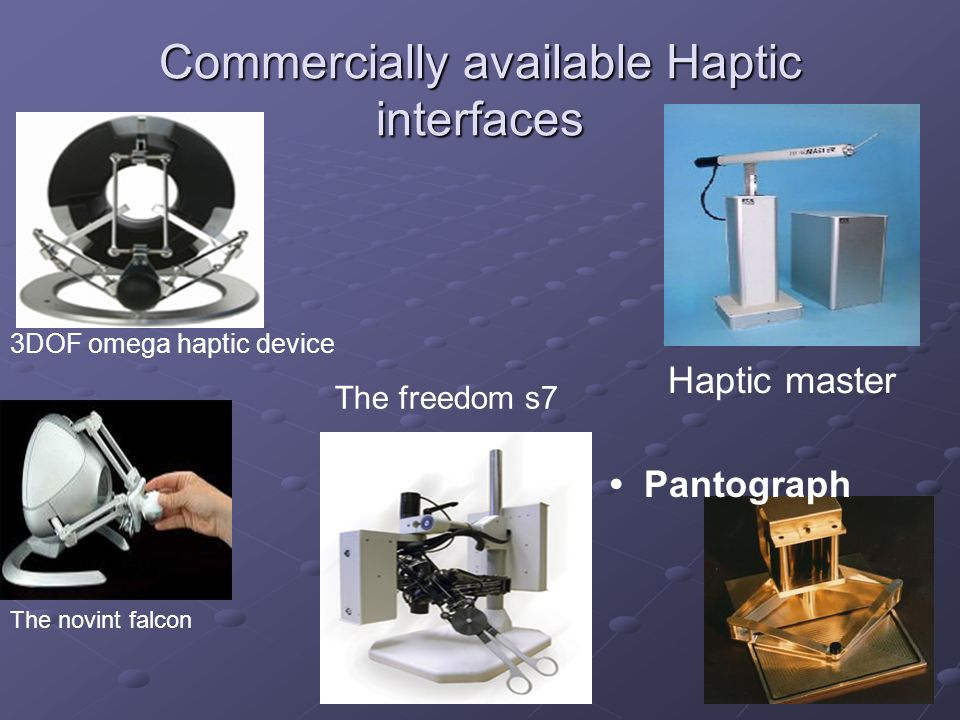 Commercially available Haptic interfaces