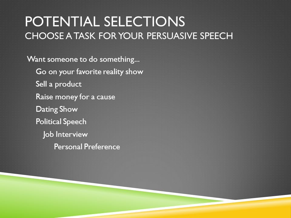 Potential Selections Choose a task for your persuasive speech