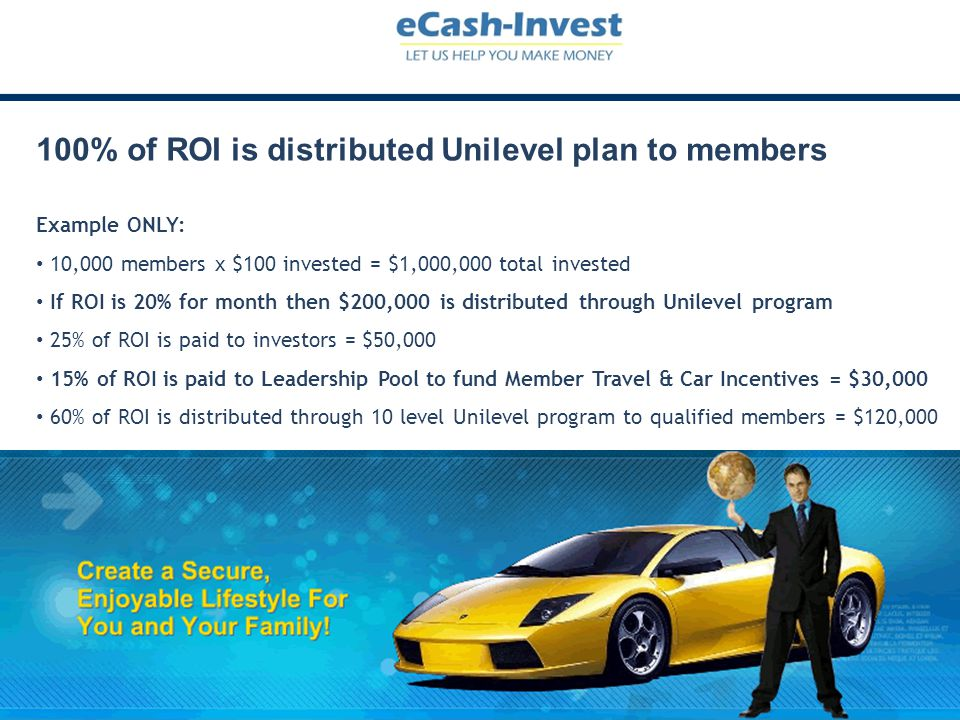 100% of ROI is distributed Unilevel plan to members