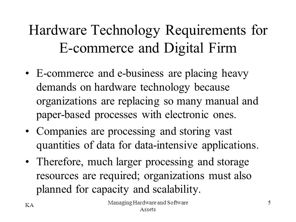 Hardware Technology Requirements for E-commerce and Digital Firm
