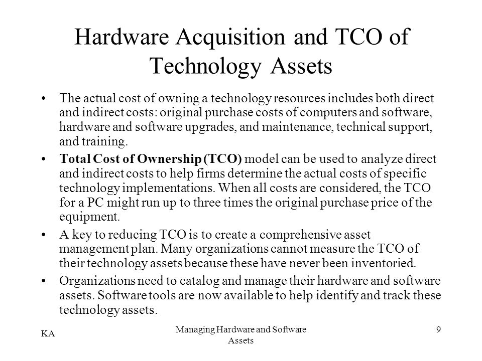Hardware Acquisition and TCO of Technology Assets