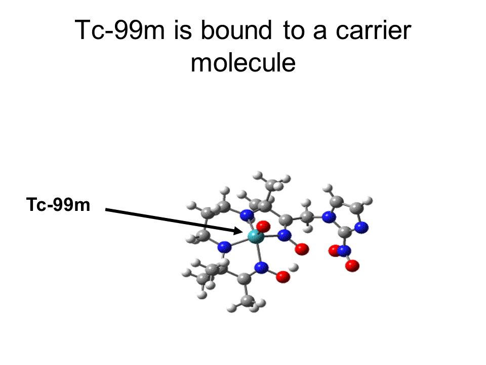Tc-99m is bound to a carrier molecule