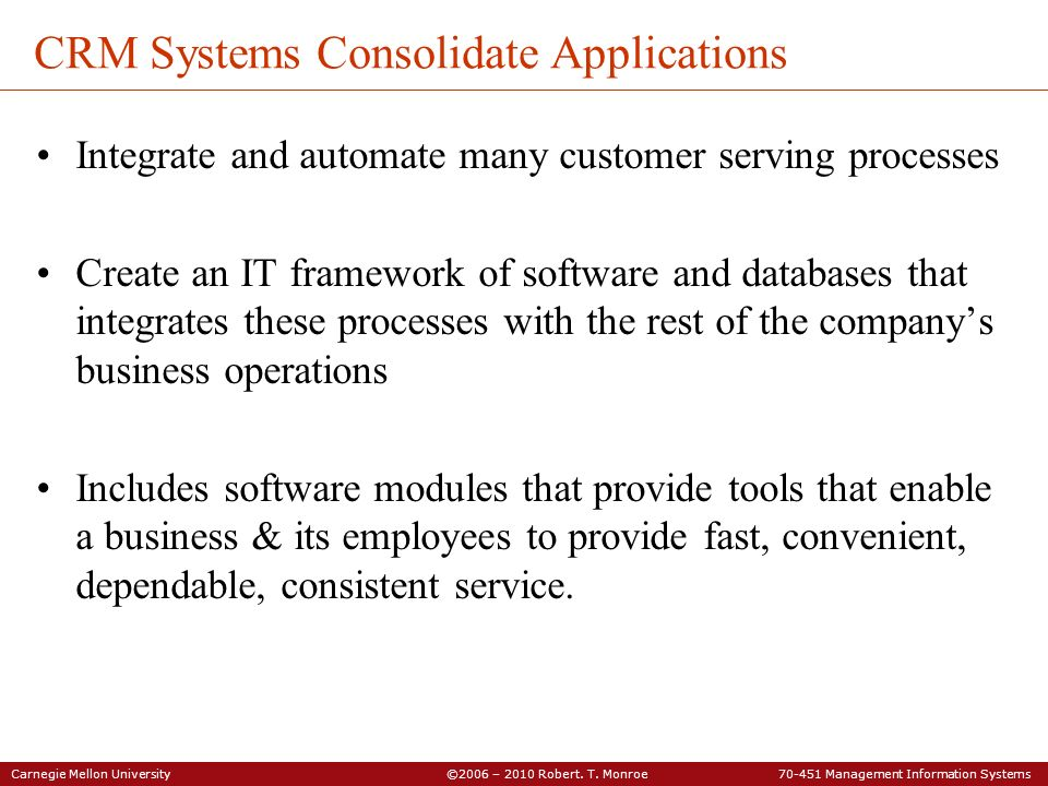 CRM Systems Consolidate Applications