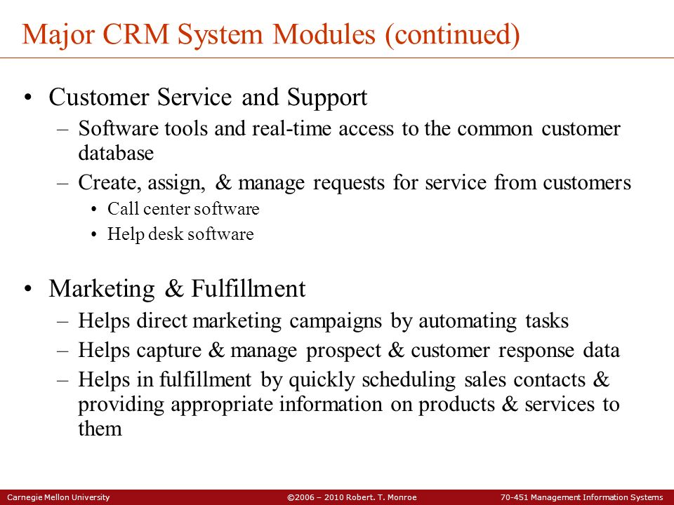 Major CRM System Modules (continued)