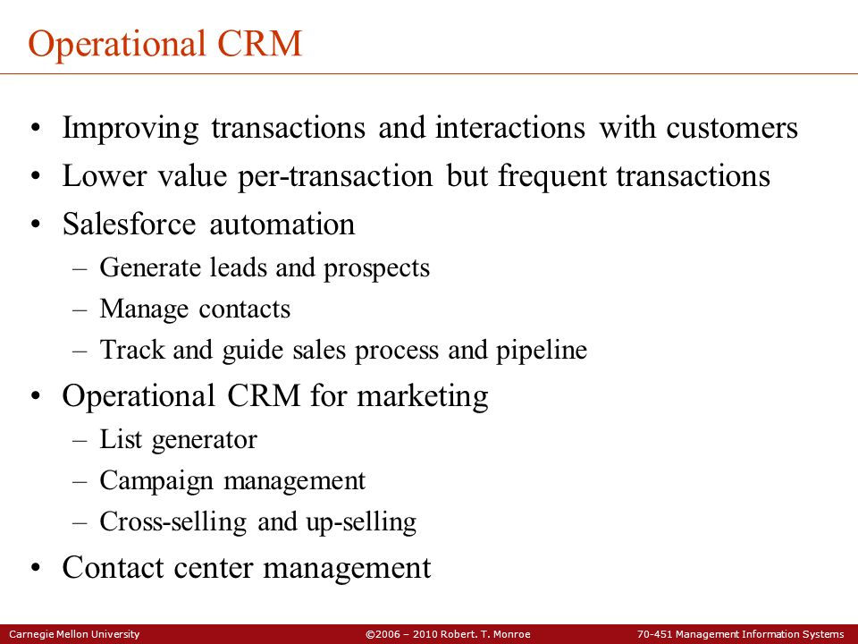 Operational CRM Improving transactions and interactions with customers