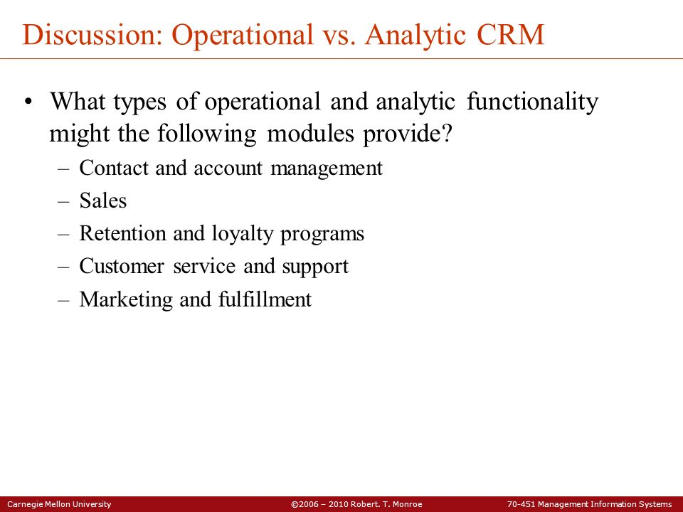 Discussion: Operational vs. Analytic CRM