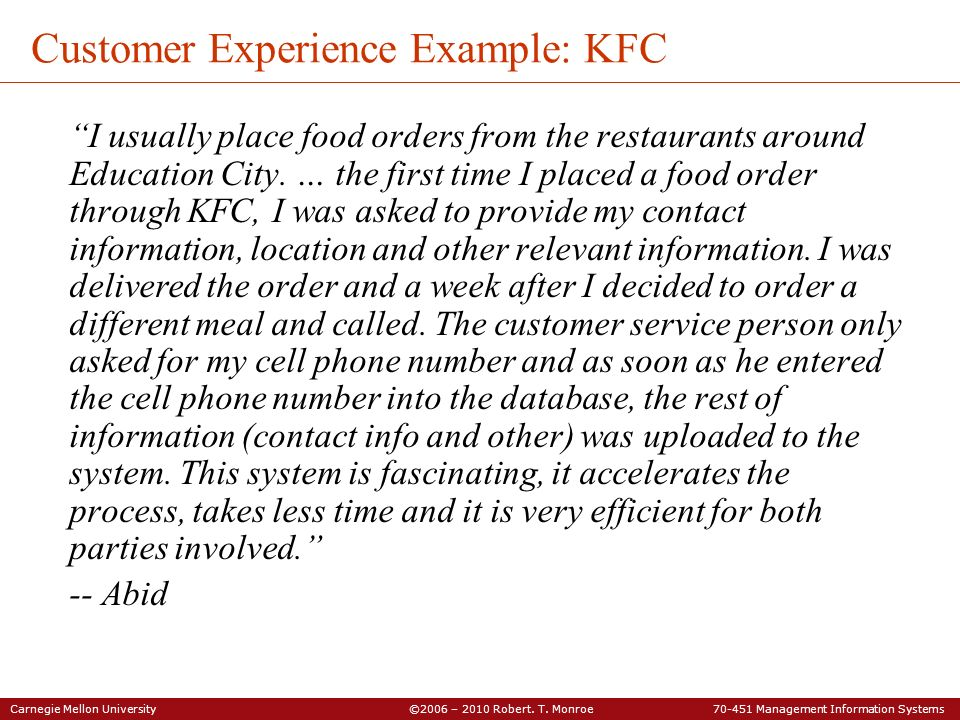 Customer Experience Example: KFC