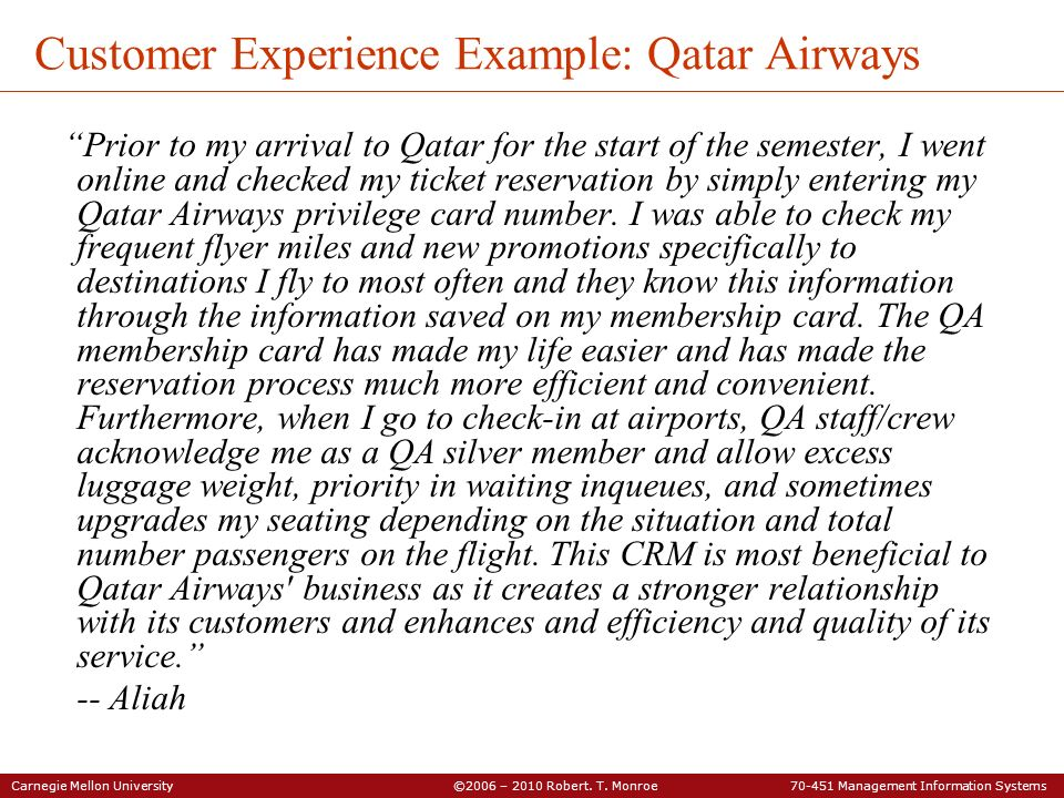 Customer Experience Example: Qatar Airways