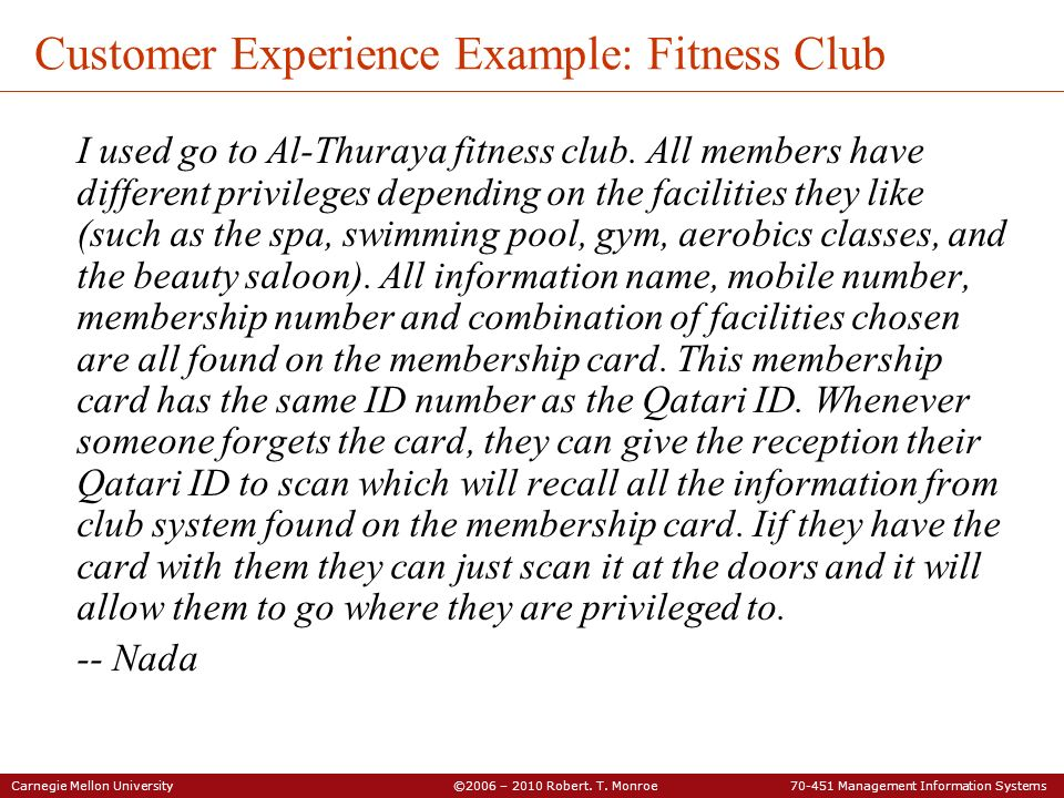 Customer Experience Example: Fitness Club