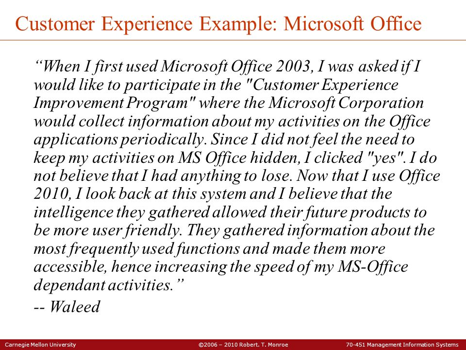Customer Experience Example: Microsoft Office