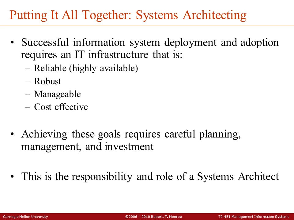 Putting It All Together: Systems Architecting