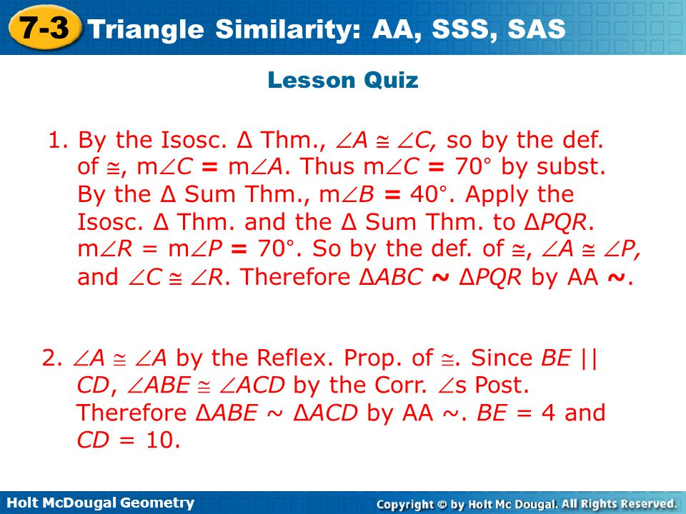 7-3 problem solving triangle similarity aa sss and sas