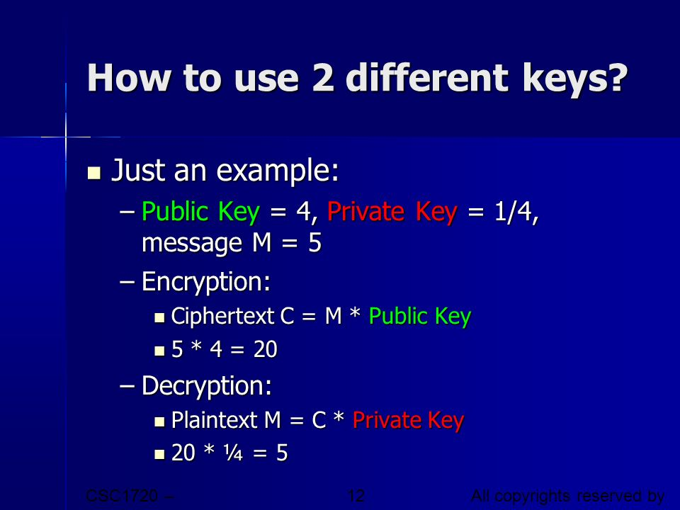 How to use 2 different keys