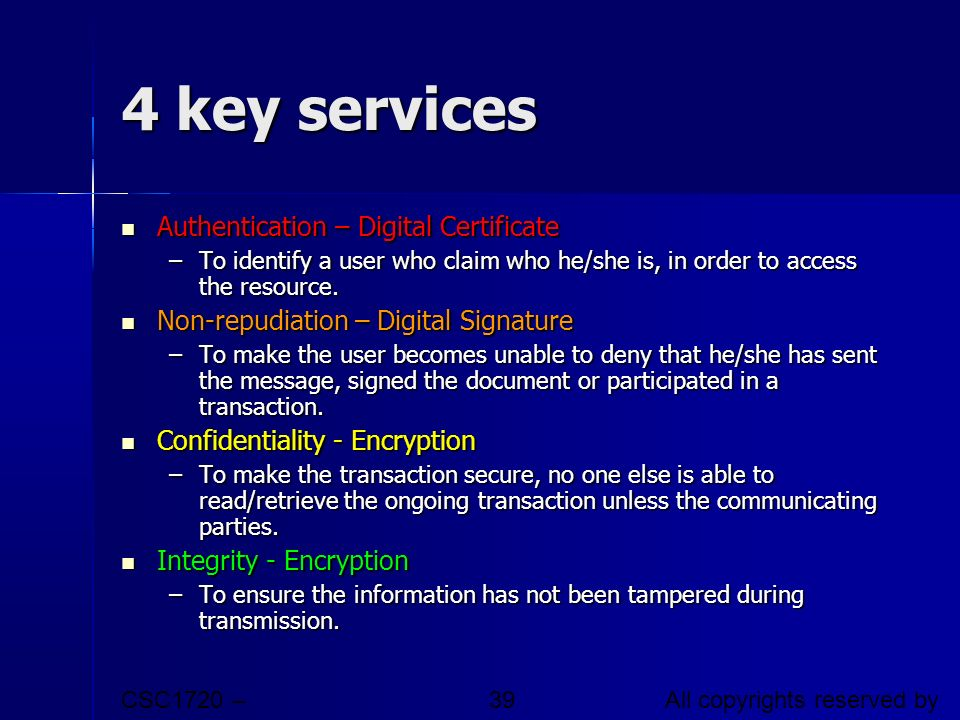4 key services Authentication – Digital Certificate