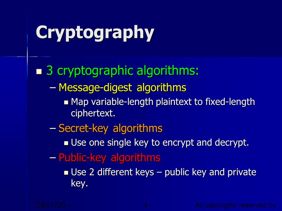 Cryptography 3 cryptographic algorithms: Message-digest algorithms