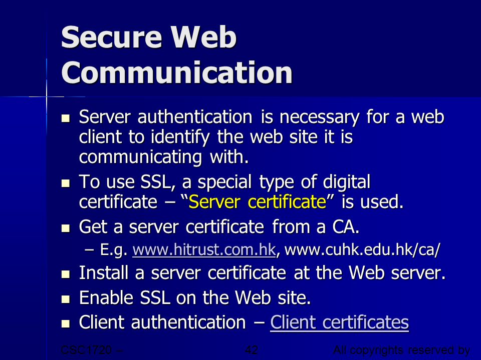 Secure Web Communication
