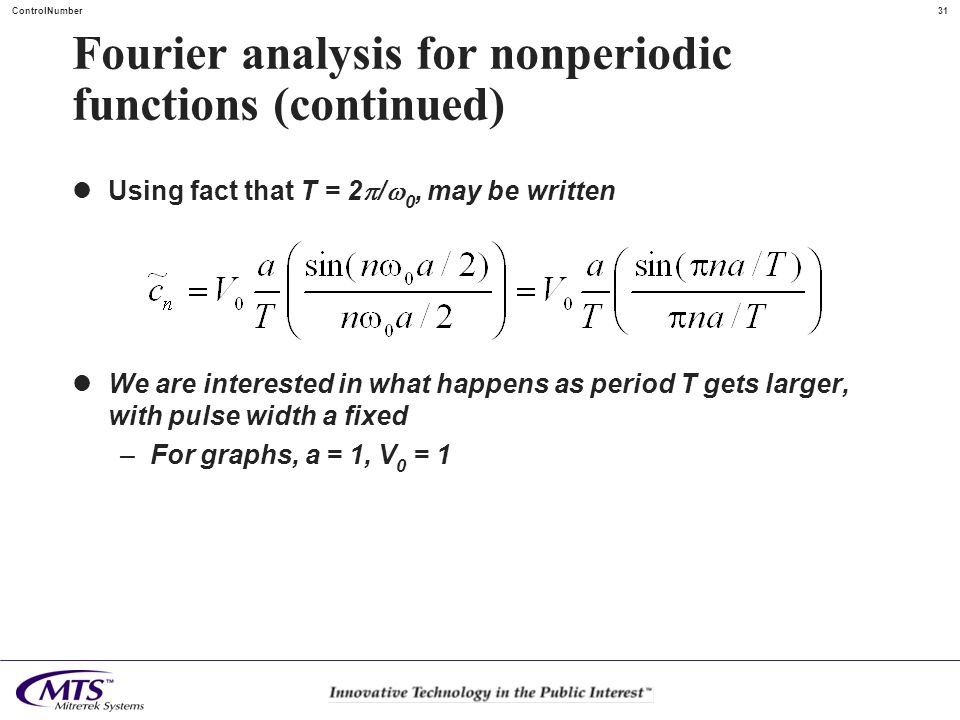 Fourier analysis for nonperiodic functions (continued)