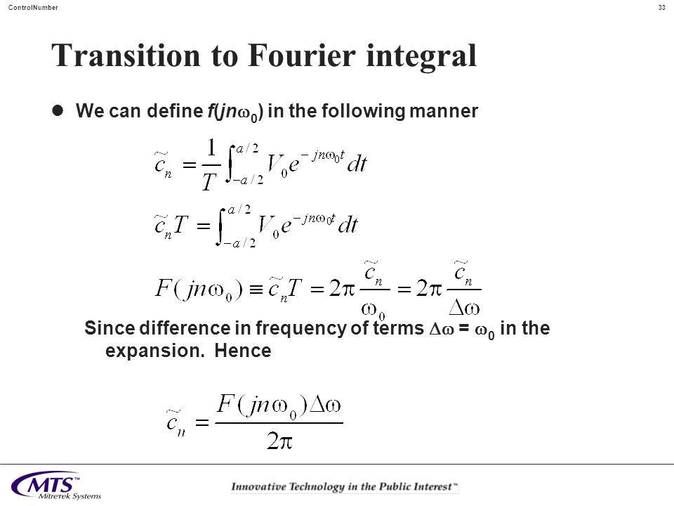 Transition to Fourier integral