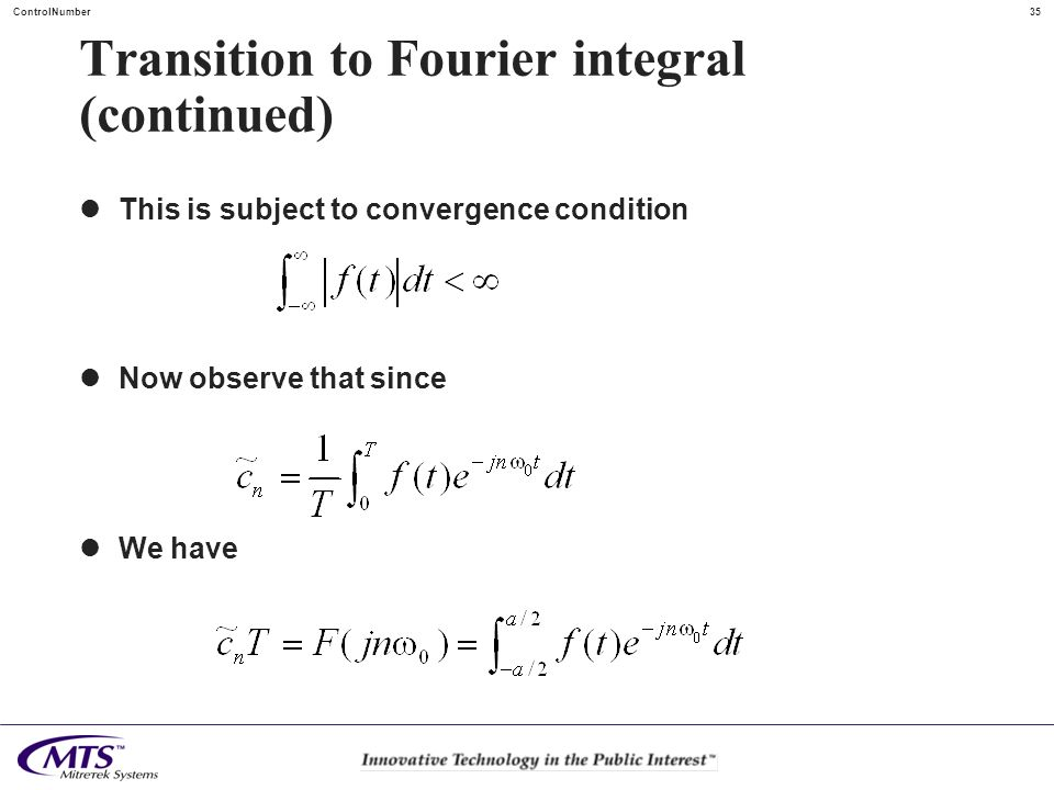 Transition to Fourier integral (continued)
