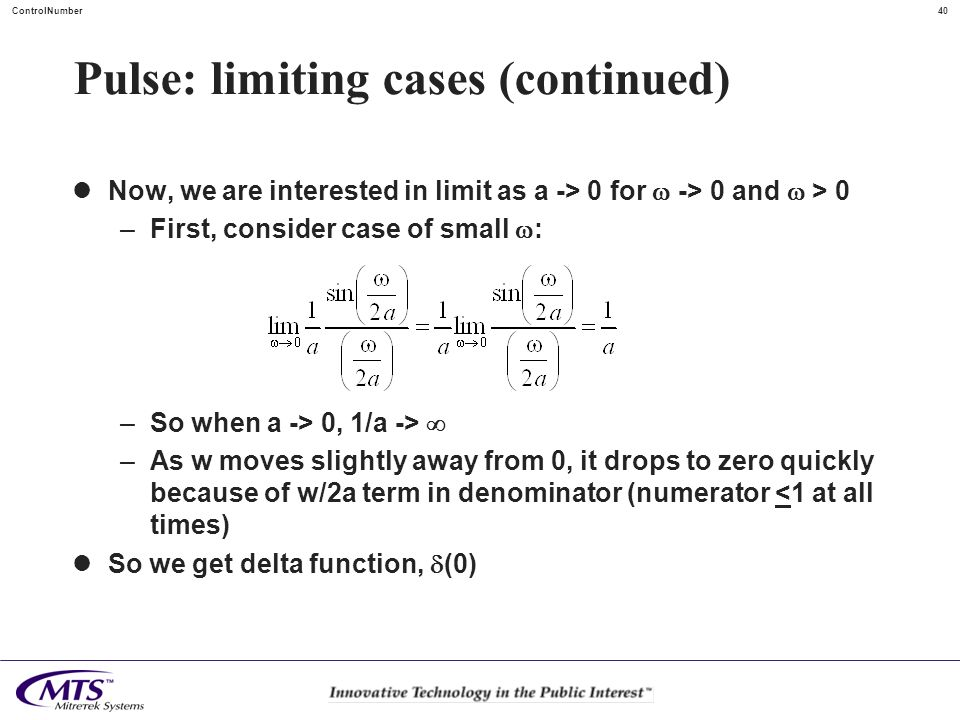 Pulse: limiting cases (continued)