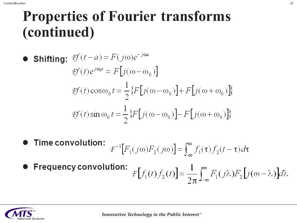Properties of Fourier transforms (continued)