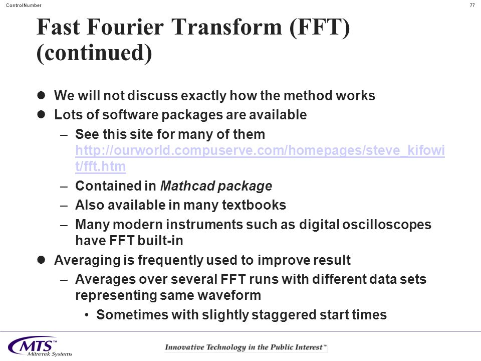 Fast Fourier Transform (FFT) (continued)