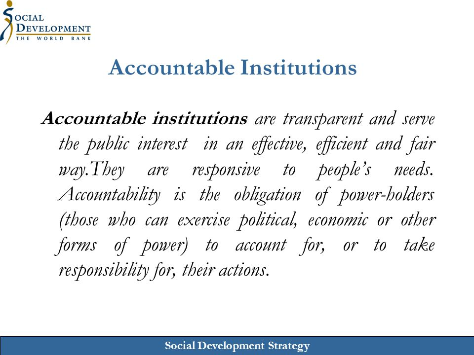 Accountable Institutions