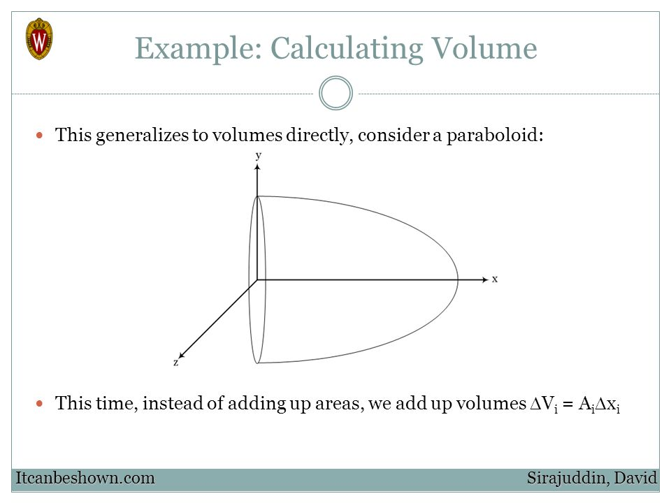 Example: Calculating Volume