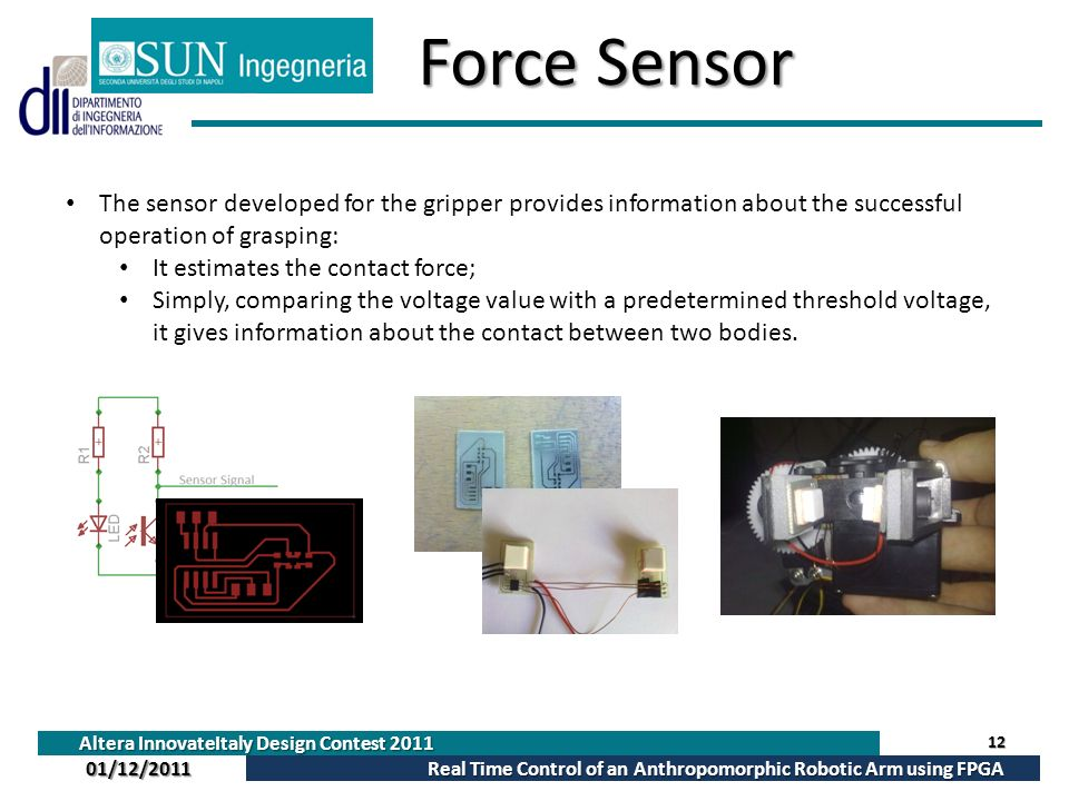 Force Sensor The sensor developed for the gripper provides information about the successful operation of grasping: