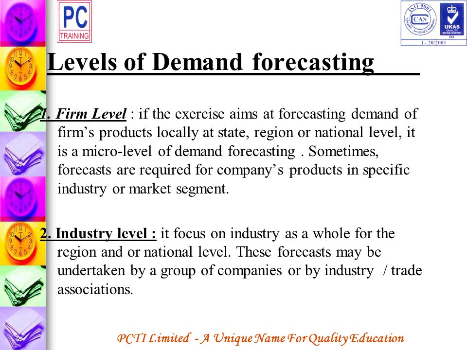 Levels of Demand forecasting