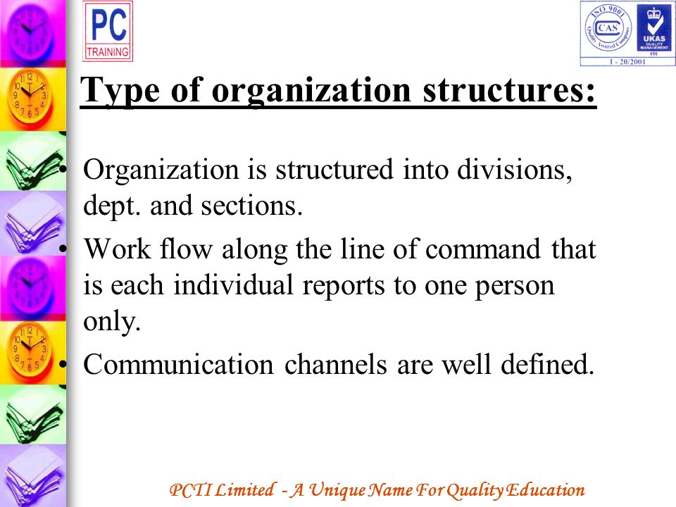 Type of organization structures: